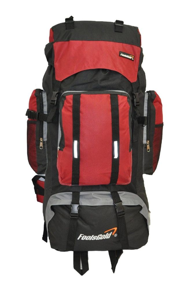 Extra Large foolsGold® Hiking Camping Travel Backpack - Black/Red